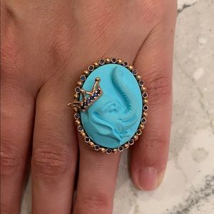 Amedeo Elephant Ring with Sapphires and Rose Gold